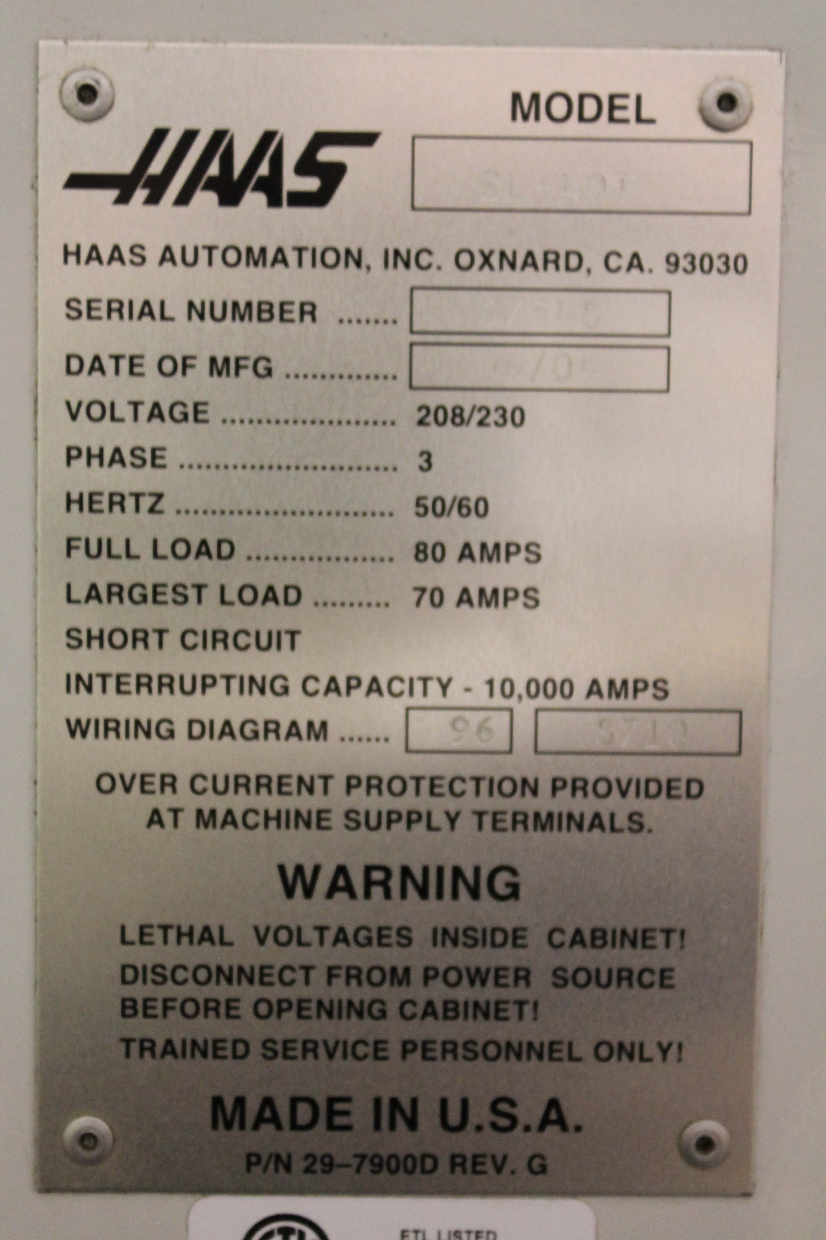 Used Haas SL40-T For Sale Haas Wiring Diagram on