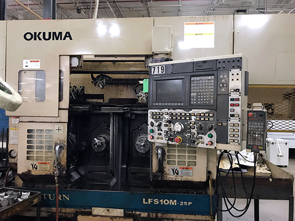 Used Dual Spindle Lathe Okuma LFS10-M2SP 2003