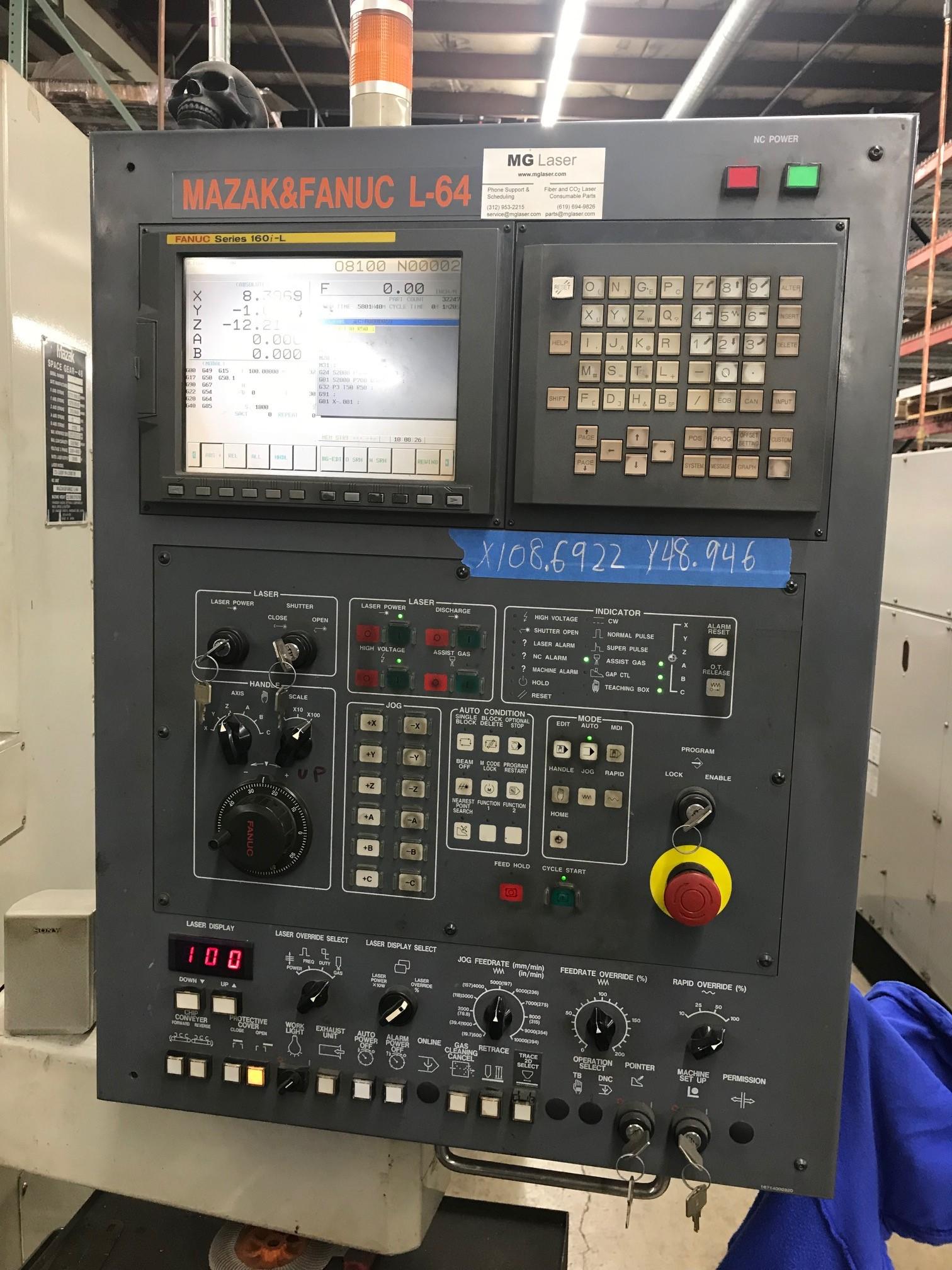 Used Laser Cutting Machine Mazak Space Gear 48 2000