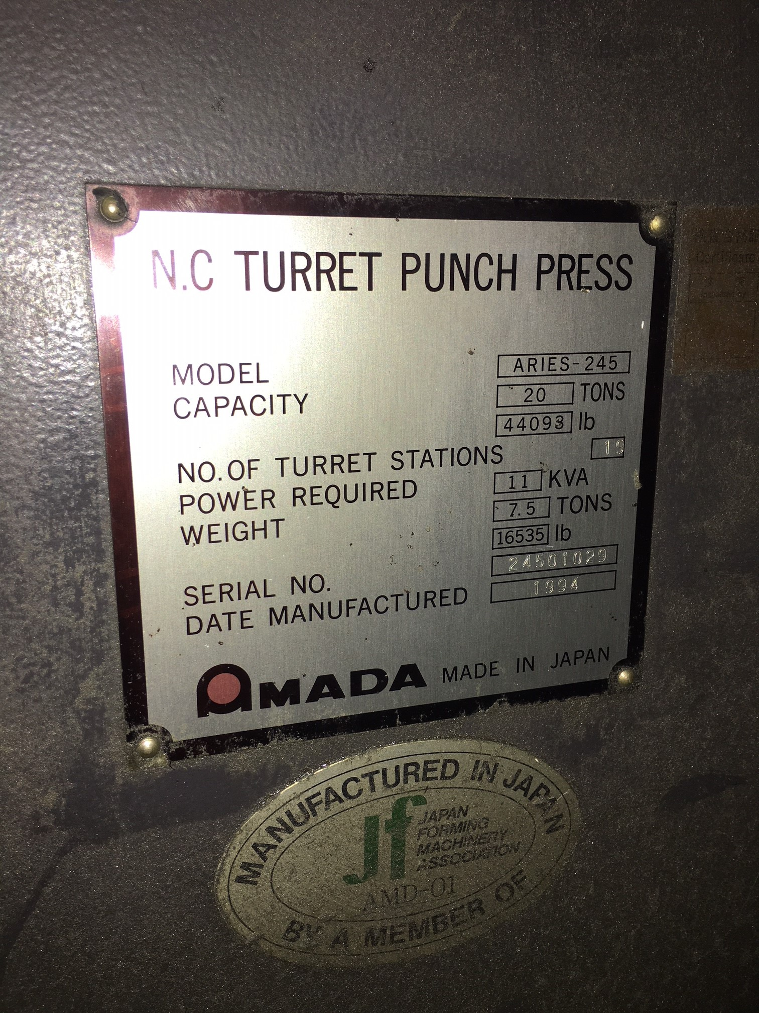 Used Turret Punch Amada Aries-245 1994