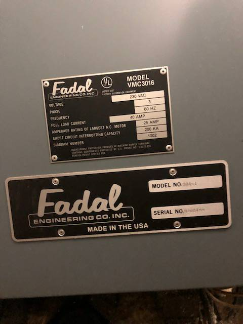 Used Vertical Machining Center Fadal 3016 1992