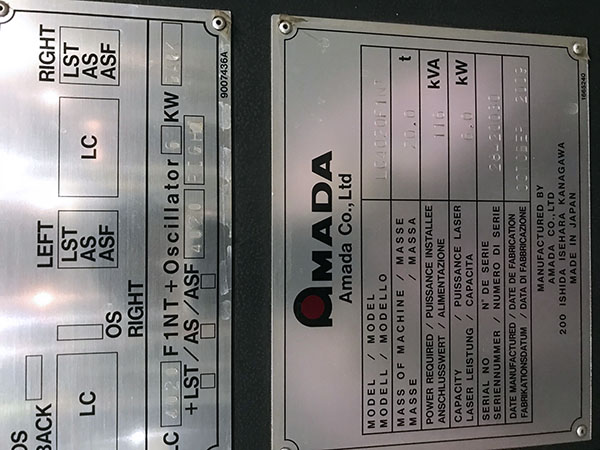 Used Laser Cutting Machine Amada LC 4020 F1 NT 2009